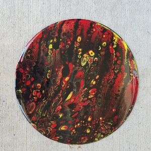 3/$50 Liquid Pour Vinyl Record Wall Art Red/Yellow
